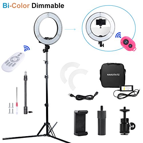 Hakutatz Dimmable 14 inches Bi-color LED Ring Light 40W Camera Photo Video 5500K Flash Kit with Bag,Filter Set,Swivel Ball Head,Cellphone Clip Holder,Bluetooth Receiver,Soft Tube,Light Stand