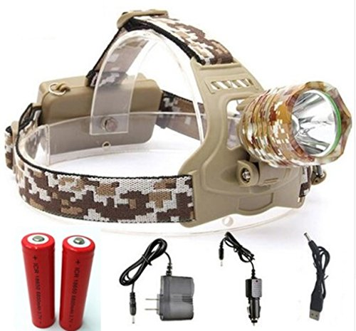 1 Pack 4000 Lumen Camouflage Cree XM-L T6 LED Flashlight Headlamp Headlight 3 Modes 38W Headlamps Lavish Fashionable Ultra Xtreme Tactical Military Waterproof Outdoor Hunting Fishing Light, Type-07