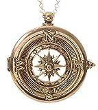 "Compass 4x Magnifier Magnifying Glass Sliding Top Magnet Pendant Necklace, 30"""