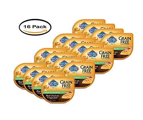 PACK OF 16 – Nature's Recipe Grain Free Easy to Digest Chicken & Duck Recipe In Broth Wet Dog Food, 2.75 oz