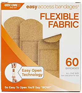 """Easy Care Easy Access Bandages, 1"""" x 3"""" Fabric, 60 Count"""
