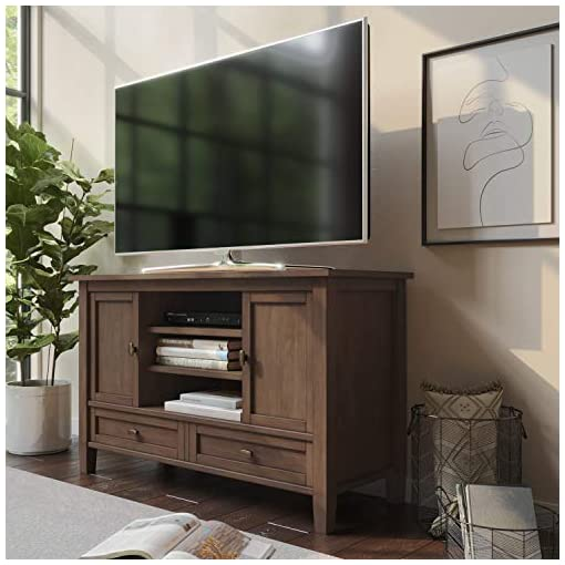 Farmhouse Living Room Furniture SIMPLIHOME Warm Shaker SOLID WOOD Universal TV Media Stand, 47 inch Wide, Farmhouse Rustic, Entertainment Center… farmhouse tv stands