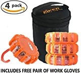 4 Pack Safety Road Flares + Batteries, Work Gloves & Storage Case. Each LED Road Flare has 9 Flash Modes (including SOS & Flashlight) + Magnetic Base.