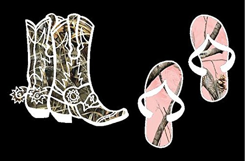 - *Camo Man's Boots with Pink Camo Ladies Saddles Sticker *
