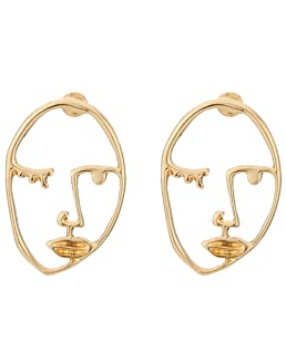 BOER INC Human Face Earrings Unique Abstract Art Dangle Stud Earring Fashion Geometric Drop Hoops Studs Earrings with Face Rings for Party Birthday Valentine's Day (B Style)