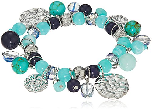 Blue and Turquoise Beaded Stretch Bracelets with Shakey Beads and Textured Silver-Tone Discs, 7