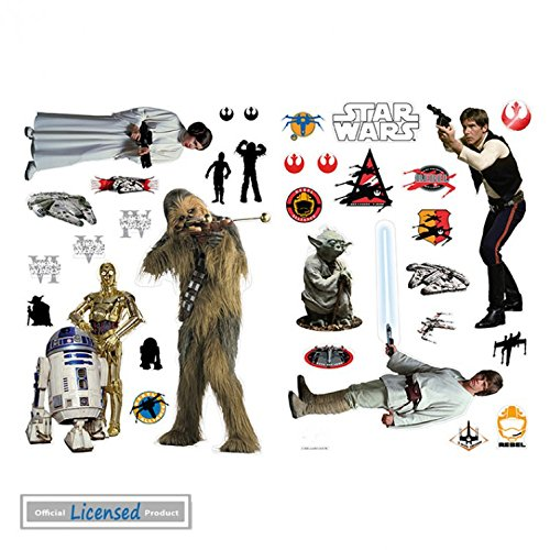 (1art1 Star Wars Poster-Sticker Wall-Tattoo - Rebel Alliance, Han Solo, Luke, Leia, Chewbacca, Yoda (39 x 28 inches))