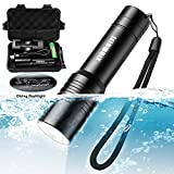 Xinmaisi LED Diving Flashlight Handheld Torch with 1200LM Brightness, Underwater 10M Waterproof resistant torch, with Adjustable Focus and 3 Light Modes,Powered Tactical Flashlights for camping Hiking