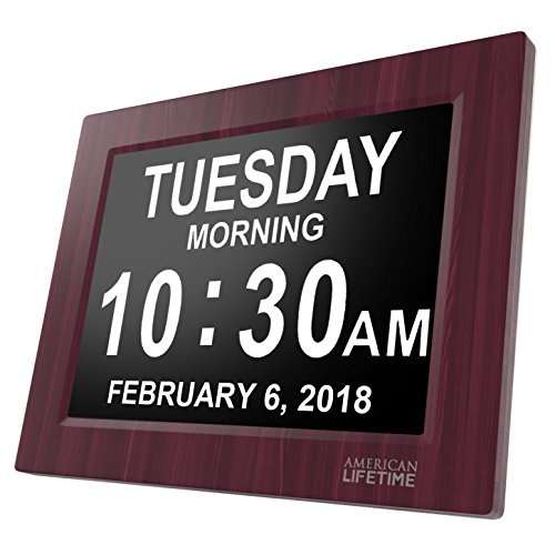 [Newest Version] Day Clock - Extra Large Impaired Vision Digital Clock with Battery Backup & 5 Alarm Options (Premium Mahogany Color) (Clock Digital Desk)