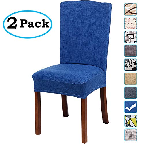 misaya Stretch Spandex Dining Room Chair Cover Removable Washable Chair Protector Flowers Painting Stool Seat Slipcover Set of 2, Dark Blue -