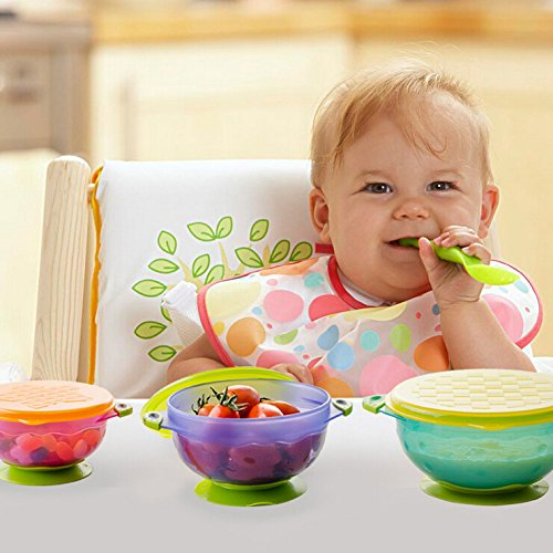 Jzhen 3Psc In A Set Child Colorful Sucker Bowl Baby Stay Put Suction Bowls With Seal-Easy Lids For Toddlers To Avoid Splling And Feeding Training.