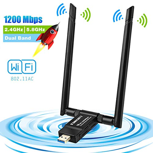 Antena WiFi USB Adaptador WiFi USB 3.0 1200Mbps WiFi Adaptador 5dBi Receptor WiFi Dual Band 5.8G / 867Mbps 2.4G / 300Mbps para PC e Laptop, Compatible con Windows XP / 7/8/10 / Vista, Linux, Mac