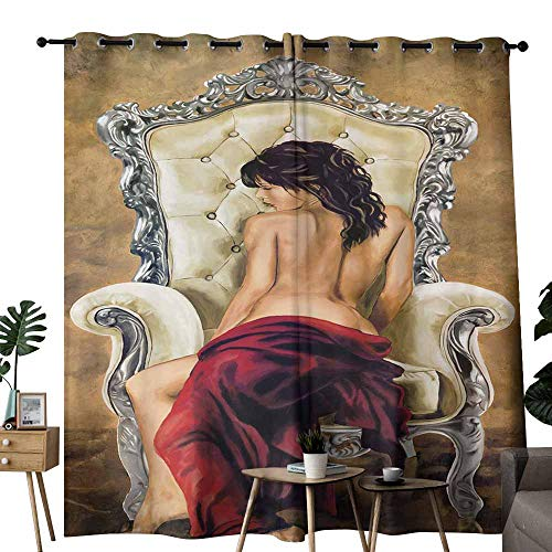 duommhome Durable Curtain Western Woman semi-Naked Oil Painting Darkening and Thermal Insulating W84 x L108]()
