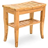 Solid Bamboo Construction Shower Chair Seat Bench With Storage Shelf Bathroom Spa Bath Organizer Stool Elderly Handicapped Bath Room Hospital Sauna Room Use Smooth Finish Protects Skin Irritation