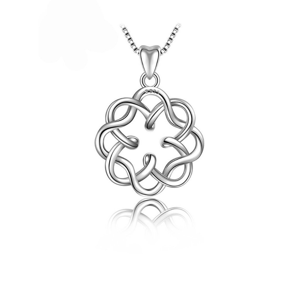 Wonderland Fine Jewelry for Woman Celtic Knot s925 Sterling Silver Vintage Pendant Necklace Box Chain Birthday for Woman Wife Her Mom Teen Girls Daughter Sisters Aunt Friends Grandma