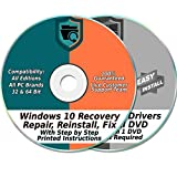 Windows 10 32 & 64-Bit Install, Reset, Boot, Recovery, Restore, Repair & Fix Disk with 2018 Drivers 2 DVD Set for Home & Professional {All PC Brands & Systems}: more info