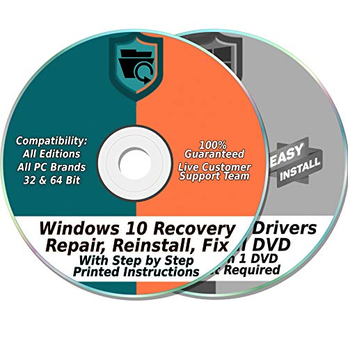 Windows 10 Compatible 32 & 64-Bit Install, Reset, Boot, Recovery, Restore, Repair & Fix Disk with 2018 Drivers 2 DVD Set for Home & Professional {All PC Brands & Systems} (Asus Motherboard Cd)