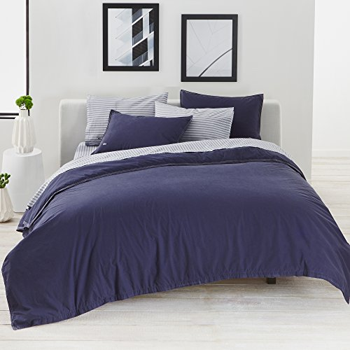 (Lacoste Washed Solid Duvet Set, Indigo Blue, King)