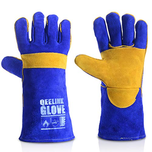 Glove Welder Tig Mig (QeeLink Welding Gloves - Heat Resistant & Wear Resistant Lined Leather and Fireproof Stitching - For Tig/Mig Welders/Fireplace/BBQ/Gardening/Grilling/Stove (14-inch, Blue))