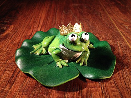 Frog Prince - Fairy Garden or Pond Miniature Frog Sculpture With A Golden Crown On A Small Lily Pad