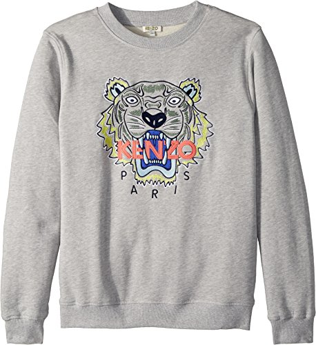 Kenzo Kids Girl's Sweat Classic Tiger (Big Kids) MARL Grey 14 by Kenzo Kids