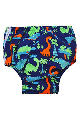 Price comparison product image Swim Time Baby Dinosauria Printed Microfiber Side Snap Reusable Swim Diaper Bottom-M 6-12M-Mlt