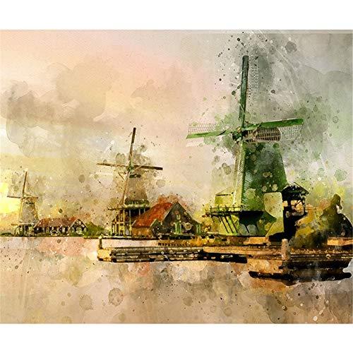 (Diy 5D Diamond Sticker Cross Stitch Painting Kits Arts Crafts - Dutch Windmill Sailing)