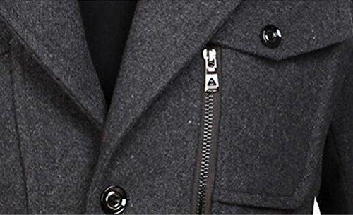 Warm Men Wind Classic Gray Coats Removable Trench Brinny Jacket Winter lining zipper Wool Dark 0wtdqEaq