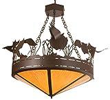 Meyda Tiffany Custom Lighting 20767 Flying Pigs 8-Light Inverted Pendant, Cafe Noir Finish with Honey Art Glass Panels