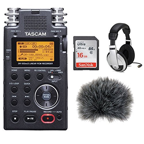 Tascam DR-100mkII - Portable 2-Channel Linear PCM Recorder Kit +Custom Windbuster + 16GB SDHC Memory Card Ultra + Closed-Back Stereo ()