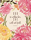 Christian Journal - God is within her, she will not fall. Psalm 46:5: Pink Journal Notebook. Bible Verse Cover (Journals To Write In For Women Christian)