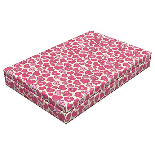 Pink Curved Heart (Lunarable Hearts Dog Bed, Valentines Day Inspired Heart Designs with Various Styles Curved Lines Flowers Bows, Durable Washable Mat with Decorative Fabric Cover, 48