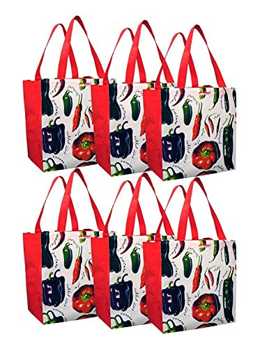 Earthwise Peppers Eco Friendly Reusable Grocery Shopping Tote Bag ( Pack of 6 )