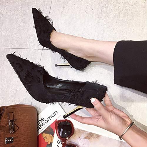 Yukun Schuhe mit hohen hohen hohen Absätzen Joker Small Fresh Schwarz Professional High Heel Damen Fein Mit Spitz Arbeitsschuhe 9d477c