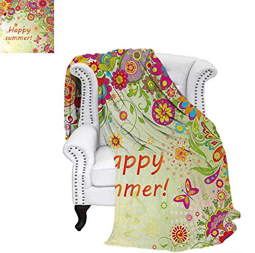 - Custom Design Cozy Flannel Blanket Blossoms Bud Flowers Leaves Paisley Ethnic Motifs with Hello Summer Quote Image Weave Pattern Blanket 70