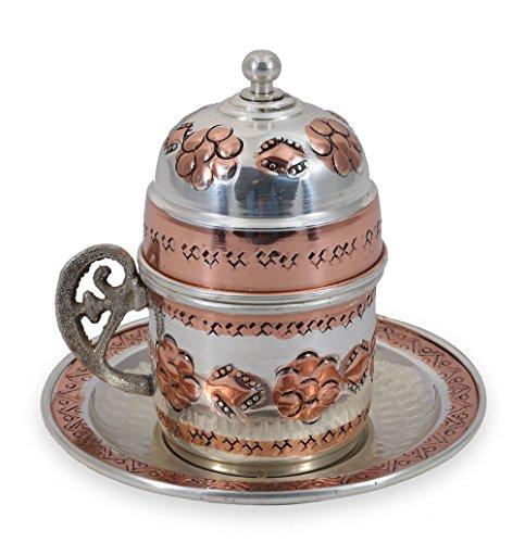 Time-honoured Design Handmade Copper Turkish Coffee Espresso Tea Cup Mug with Saucer (CC-117)