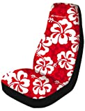 Saddleman Universal Front Bucket Seat Cover - Polyester Fabric (Red Hawaiian)