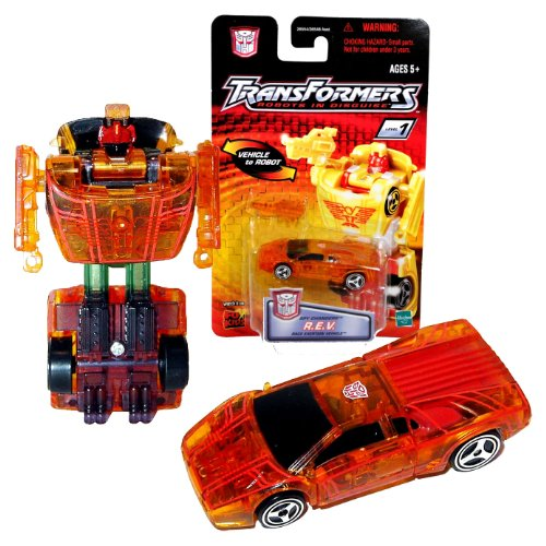 """Hasbro Year 2001 Transformers Robots In Disguise Spy Changers Series 3 Inch Tall Robot Action Figure - Autobot R.E.V. """"Race Exerion Vehicle"""" with Shotgun Blaster (Translucent Orange Color)"""
