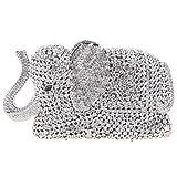 Fawziya Crystal Elephant Clutch Purse Wedding Handbags And Clutches-Silver