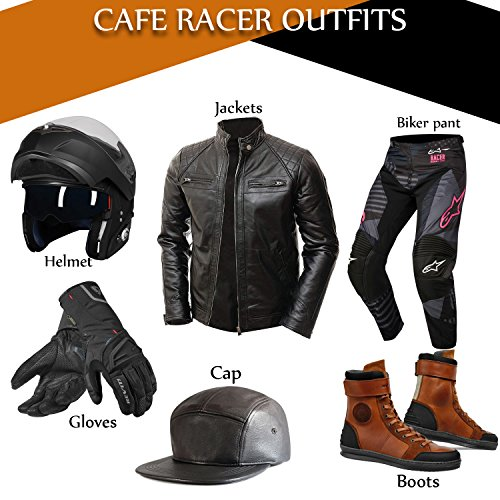 Abbraci Men's MotoBiker Vintage Shade Cafe Racer Quilted Motorcycle Padded Shoulder Wax Real Lambskin Leather Jacket