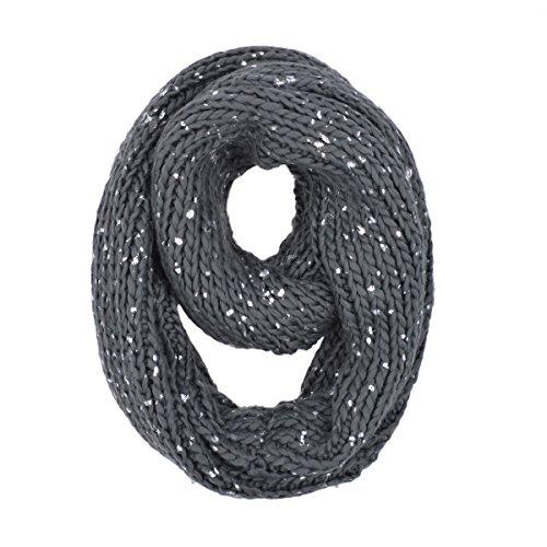 Premium Winter Silver Flakes Rib Knit Soft Infinity Loop Circle Scarf, C Grey - Glitter Scarf