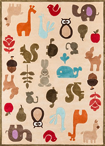 (Momeni Rugs LMOJULMJ-2IVY4060 Lil' Mo Whimsy Collection, Kids Themed Hand Carved & Tufted Area Rug, 4' x 6', Multicolor Animals on Ivory )