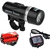 Generic 002 LED Headlight Rear Light and Speedometer Bicycle Combo, Adult