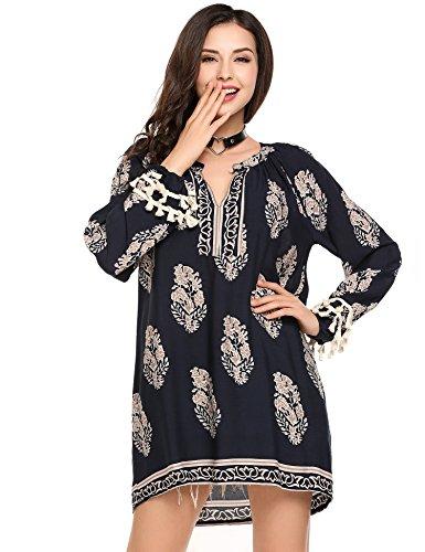 [Zeagoo Women's Long Sleeve Casual Tunic Blouse Boho Print Loose Shirt Tops Navy S] (Long Sleeve Print Tunic)