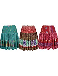 Wholesale Lot Womens Flare Gypsy Skirt Vintage Recycled Silk Sari Festival Frolic Summer Short Skirts