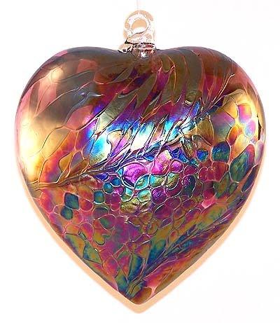 Glass Heart Ornament Hand Blown Glass Abalone Heart