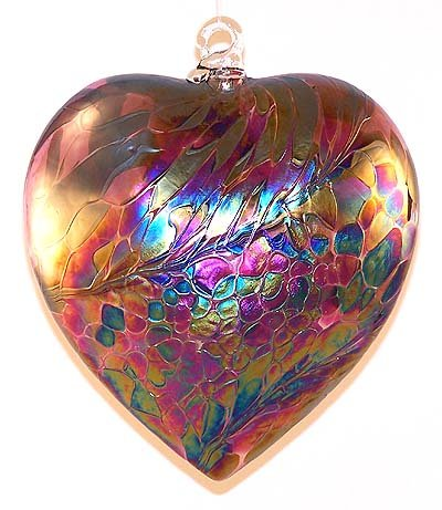 Glass Heart Ornament Hand Blown Glass Abalone Heart - heart shaped glass ornaments