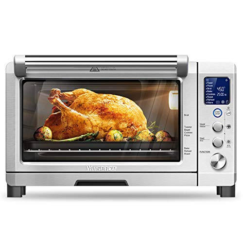 Willsence Toaster Oven Convection Toaster Oven Stainless Steel 6 Slice Countertop LCD Display and Element IQ,1800W,Pizza,Brushed,with 9 Pre-set Cooking Functions