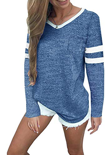 MISSLOOK Women's Color Block Shirts Baseball Tees Long Sleeve Striped Tunics Blouses Tops - Blue XL ()