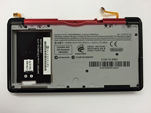 Nintendo 3DS Back Panel Replacement Housing With Left And Right Ribbon Cable and Trigger Shoulder Button Burgundy